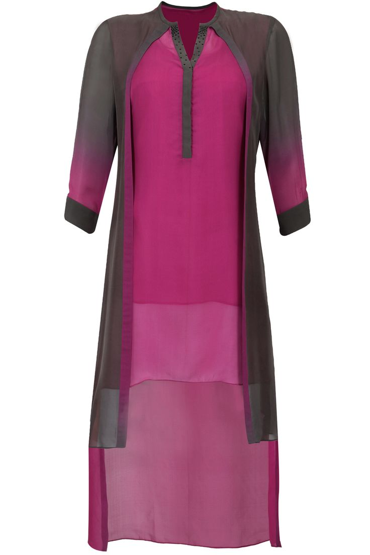 Pink and grey cape style high low tunic available only at Pernia's Pop-Up Shop.