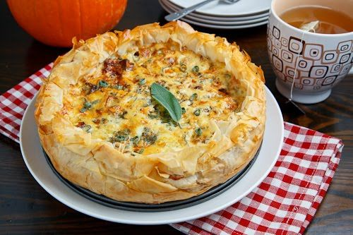Roasted Pumpkin Quiche w/ Caramelized Onions, Gorgonzola, and Sage: I haven't had quiche in SUCH a long time!