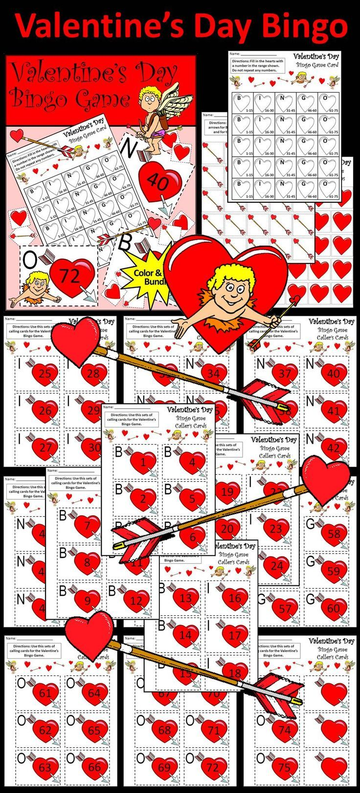 Valentine's Day Bingo Game Activity Packet: Contains all the necessary components for playing the classic game.  Students create their cards by filling in numbers in the appropriate range.   Valentine's Bingo Game Activity Includes: * One Printable Valentine's Day Bingo Card Template * One Set of Printable Valentine's Heart Tokens * One Set of Printable Cupid's Arrow Tokens * One Set of Valentine's Bingo Callers Cards  #Valentines #Day #Game #Activities #Bingo #Teacherspayteachers
