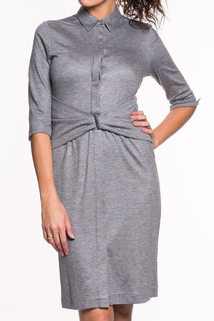 Kristal Kleid von van Laack    das Kleid von van Laack hat einen Hemdblusenkragen und dreiviertel-Ärmel   durchgehende, verdeckte Knopfleiste vorne   taillierte Form durch eleganter, integrierte Gürtelkonstruktion mit