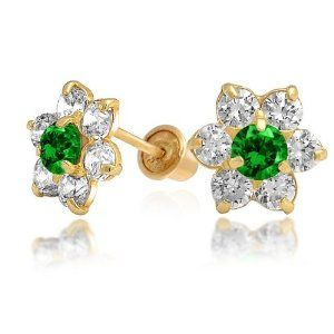 Bling Jewelry Kids Emerald Color Safety Screw Back CZ Flower Stud Earrings 14k Gold Bling Jewelry. $84.99. Screw back. Childrens birthstone flower stud earrings. 14 Karat yellow gold. Stud earrings. Cubic Zirconia. Save 36%!