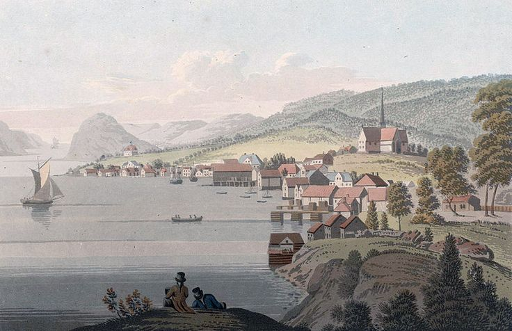 """File:Town of Molde (JW Edy plate 78).jpg English: """"Town of Molde"""" Norsk bokmål: «Byen Molde» Drawing by John William Edy (1760-1820) from his journey along the coast of Norway during the summer of 1800. Published in Boydell's picturesque scenery of Norway in 1820."""