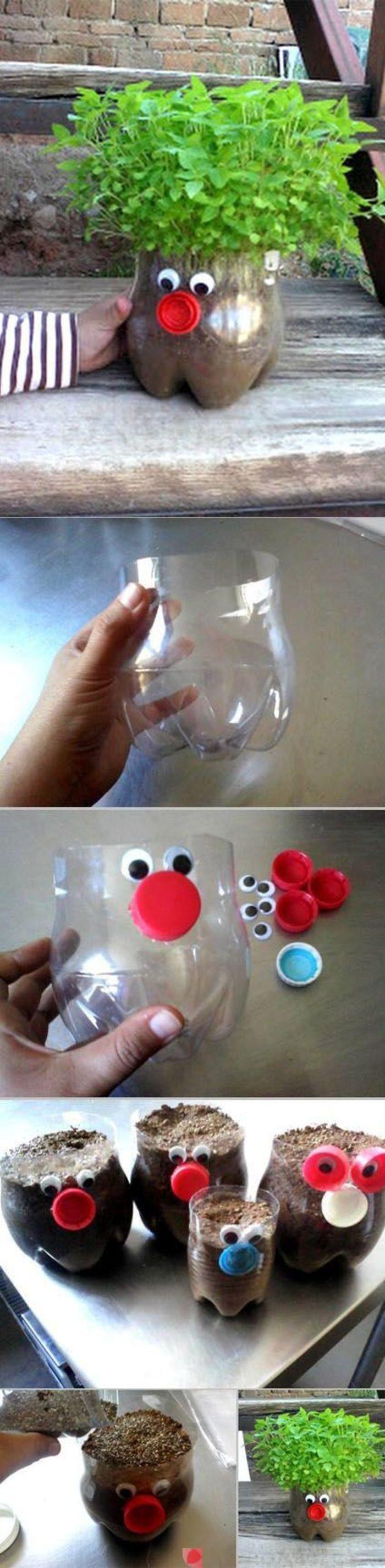 可乐瓶改造可爱小花盆