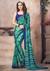 Green Color Crepe Kitty Party Sarees : Sherija Collection YF-64153