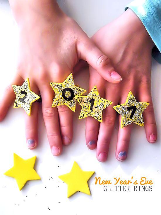 Kids New Year's Eve Glitter Rings Celebration Craft