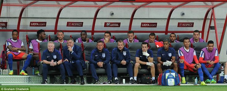 Its pensive on the England bench as Allardyce talks tactics with assistant Sammy…