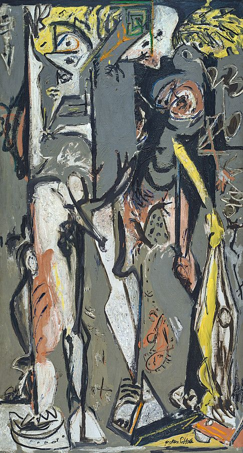 Jackson Pollock | Two | 1943–45 | 76 x 43 1/4 inches (193 x 110 cm) | Oil on canvas |  Guggenheim Museum - Collection Online