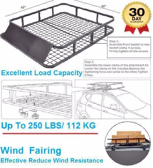 Car Basket Top Roof Luggage Cargo Carrier Strong 250Lb Rack High Grade Steel SUV #TopRoofBasket
