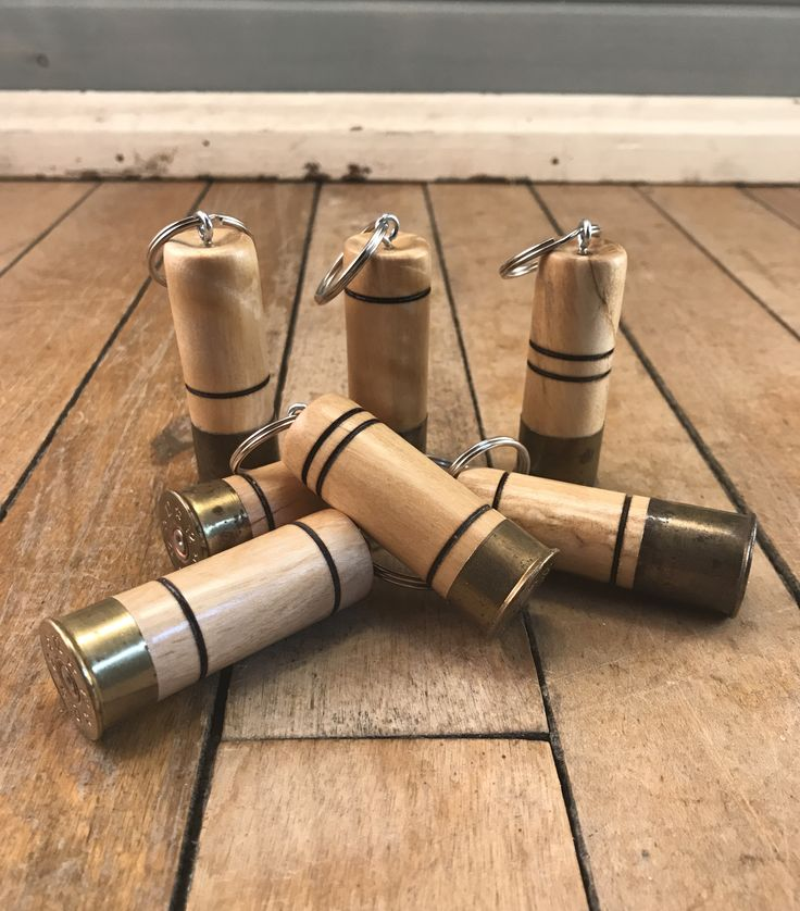 Keychains made from old shotgun shells and white birch