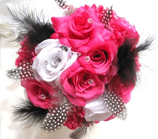 Wedding Bouquet Bridal Silk Flowers HOT PINK FUCHSIA WHITE BLACK