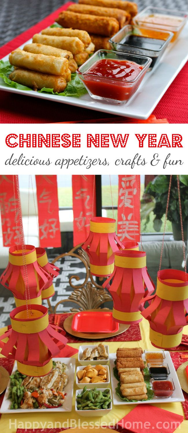 Fun! Chinese New Year with delicious recipe ideas, free printables for kids, red lantern craft, and red spring scroll craft from HappyandBlessedHome.com