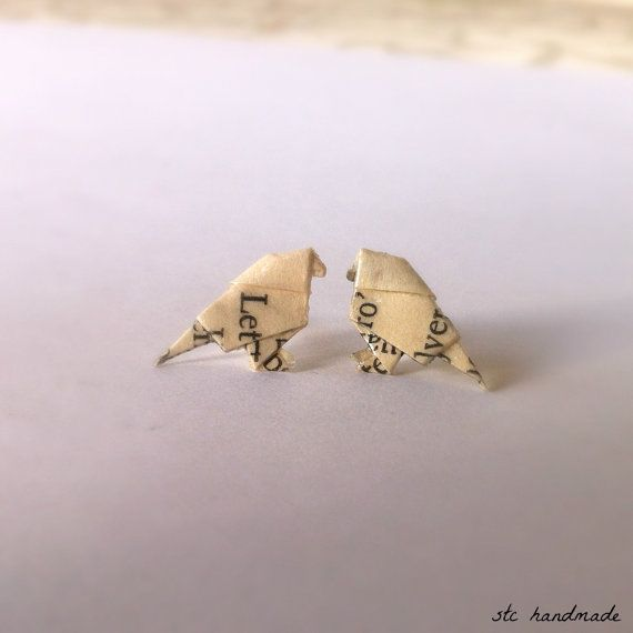 Literary Origami Bird Post Earrings. Perfect for your book worm Outdoor Princess! $12