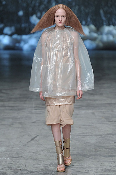 Plastic material (Rick Owens).  According to Style Sight, the new trending fabric for spring/summer 2013 is plastic. The base for this fabric is cellophane.  This fabric creates a new, transparent layering effect that will update the looks next spring. Emma Johnson.
