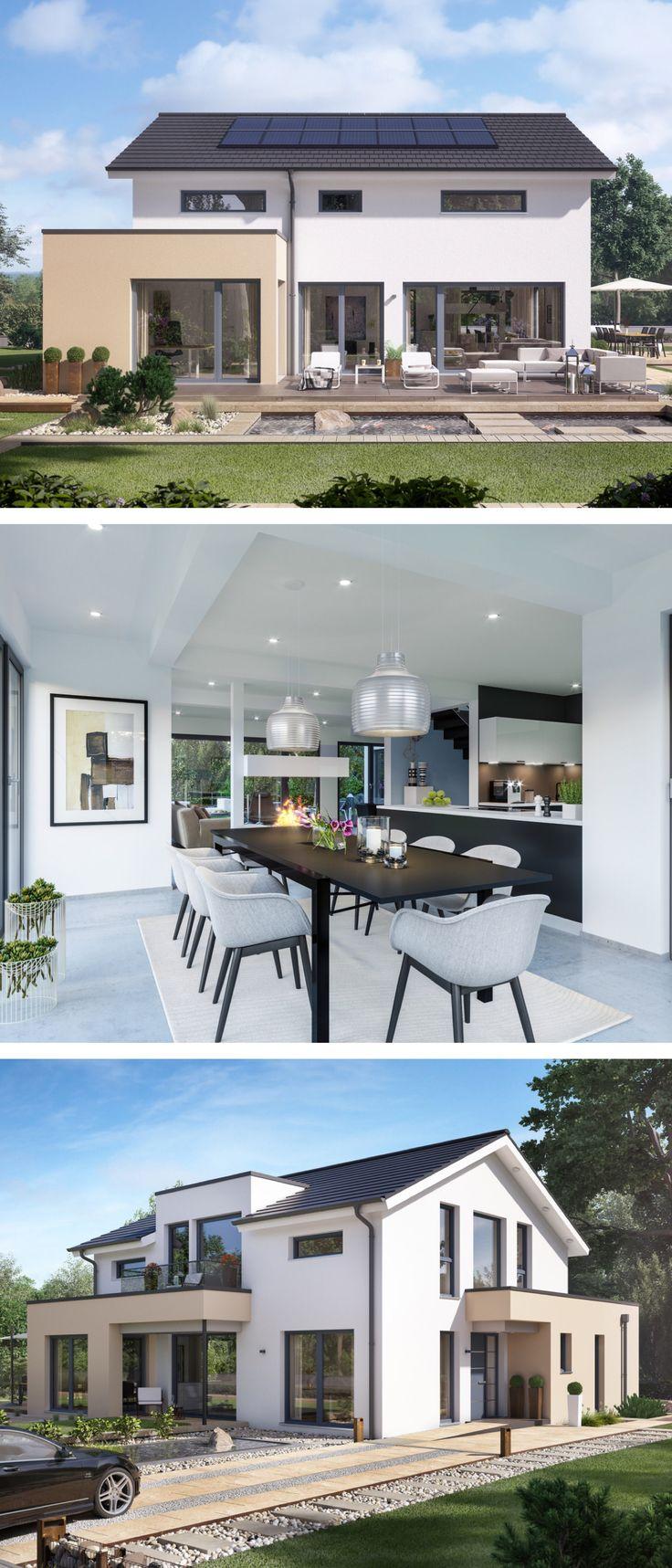 Modernes Satteldach Haus mit Büro Anbau & Galerie – Einfamilienhaus bauen Ferti…   – Ekaterina Frazier
