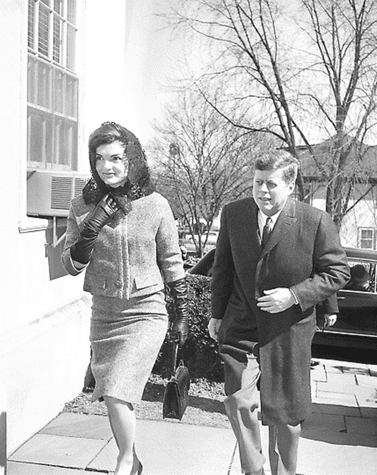 President John F. Kennedy and first lady Jacqueline Kennedy arrive at the Middleburg Community Center to attend Roman Catholic services in Middleburg, Virginia, March 4, 1962.