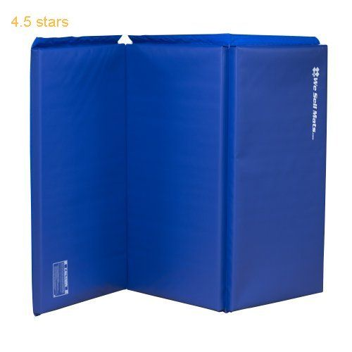 We Sell Mats Blue 1.5-Inch Thick 4-Feet by 6-Feet Gymnastics Tumbling Exercise Folding Martial Arts Mats with Hook and Loop Fasteners on 4 Side Crosslink PE Foam Core