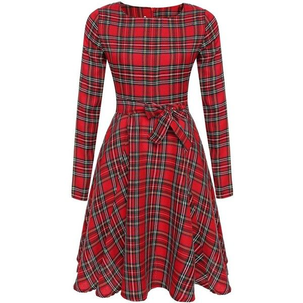 Red Plaid Tie Waist Long Sleeve Skater Dress (30 CAD) ❤ liked on Polyvore featuring dresses, tartan dress, skater dress, red day dress, plaid dress and longsleeve dress