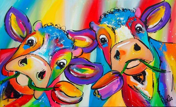 Vrolijk Schilderij Koeien met kleurrijke tulpen