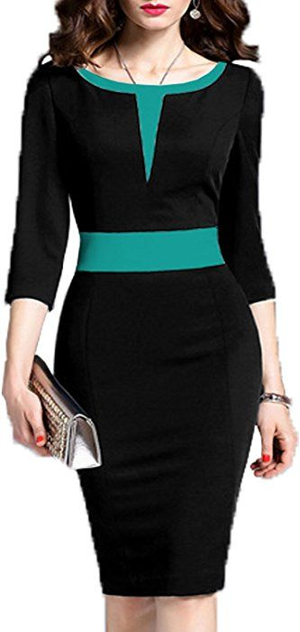 WOOSEA Women's 2/3 Sleeve Colorblock Slim Bodycon Business Pencil Dress (Small, Black)