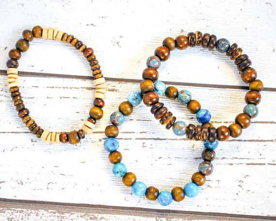 3 Blue Bead Boho Bracelets - Wood Bead Stacking Bracelet - Upcycled Bead Bohemian Bracelet - Hippie Bracelet - Wood Bracelet - Elastic thecoastaldesert The Coastal Desert handmade jewelry jewellery