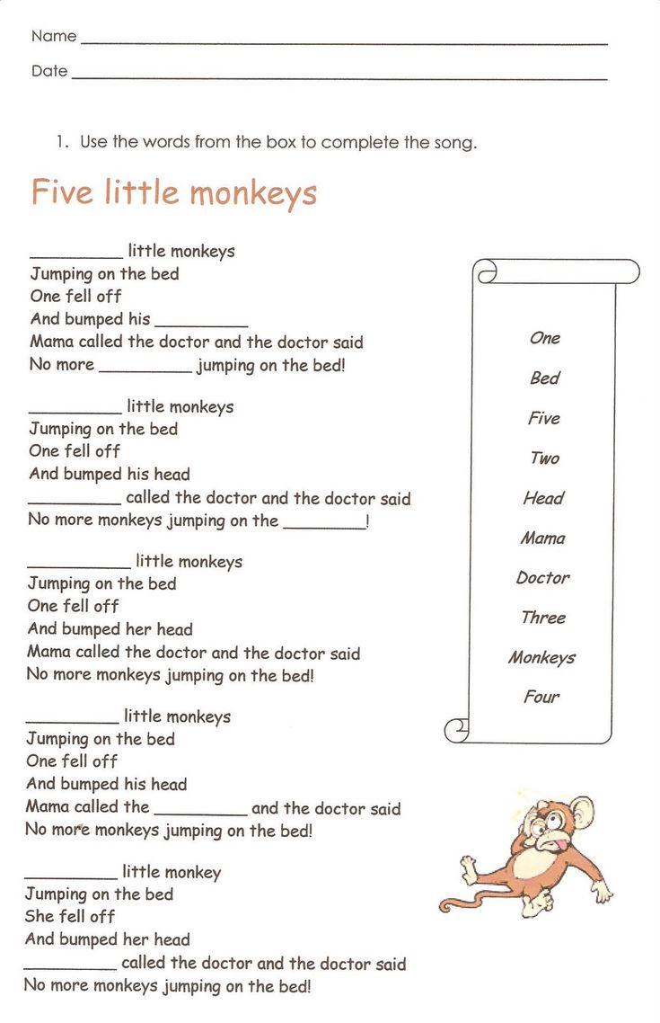 Monkeys English Reading Writing Worksheet With Images