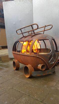 Kultige VW-Bulli Feuerschale, retro Feuertonne, Gartendeko / iconic vintage fire bowl made by gasflaschenmanufaktur via DaWanda.com