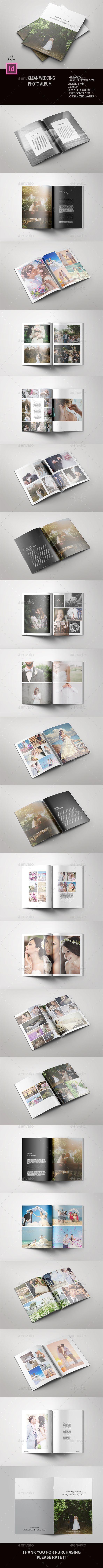 Clean Wedding Album Designed using Adobe Indesign format, totaling 42 pages. Clean, elegant, simple and stylish photo album, desig #WeddingAlbums