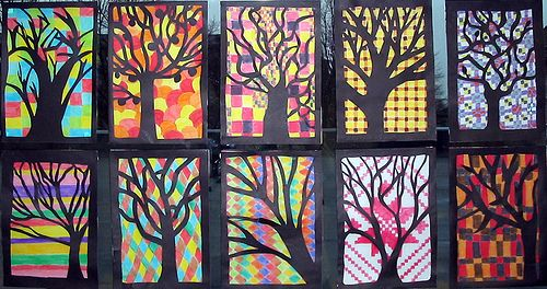 Silhouette trees with pattern backgrounds. Beautiful visual art lesson for the fall season. Use tissue paper for the backgrounds to being in stained glass as a topic of art history.