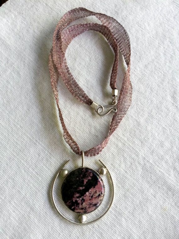 Agate stone 925 sterling silver necklace  silver made by Berrin Duma.