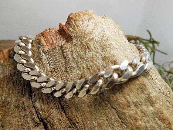 Men 6 mm Wide Sterling Silver Diamond-Cut Curb Chain