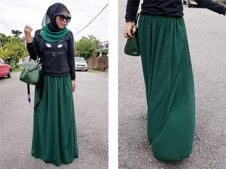jupe vert menthe, t-shirt noir 'cat face' , foulard noir , sac vert fade