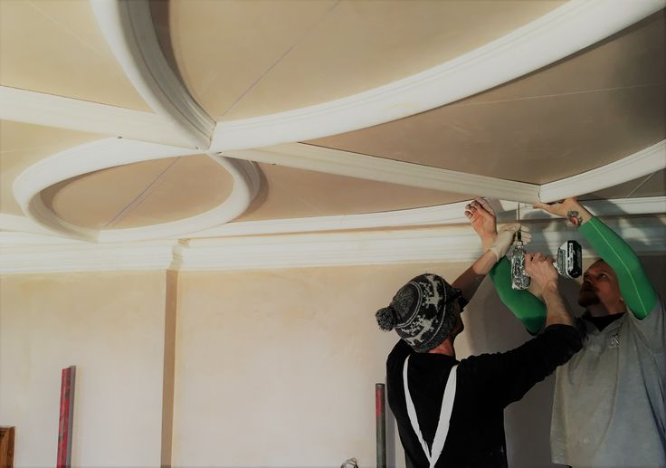 Bespoke ceiling with fibrous plaster mouldings, in progress. All cast by hand and fitted by our craftsmen.
