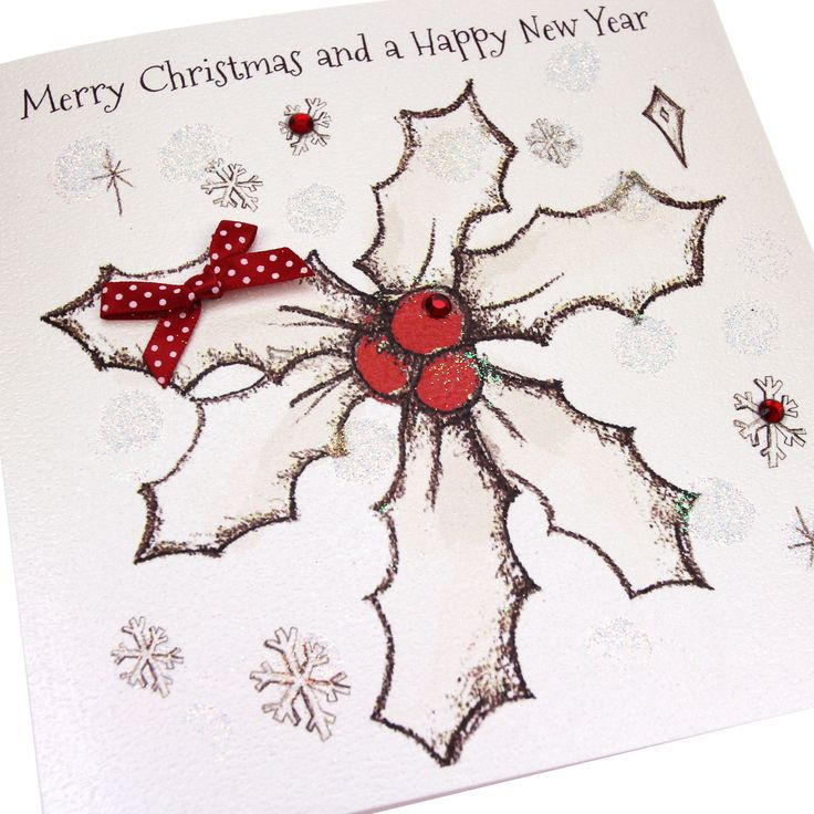 Handmade Embossed Luxury Glittered Christmas Card Holly Red Gems Polka Dot Bow - 'Merry Christmas and a Happy New Year'