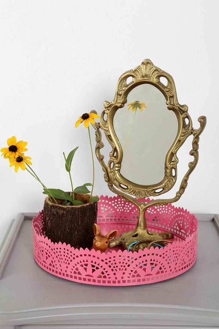 Antique vanity tray with lace insert - Cut Lace Vanity Tray Urbanoutfitters