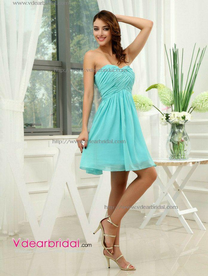 Sexy Sweetheart Empire Waist Pleated Short/Mini Chiffon Aqua Bridesmaid  Dresses WD3-114 -