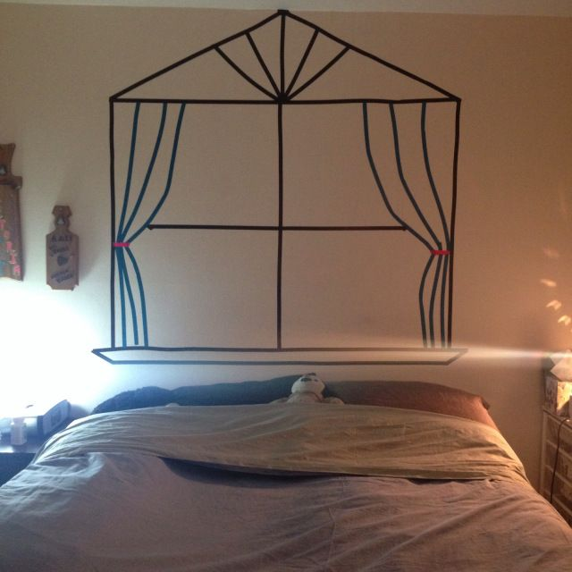 washi tape window headboard craft
