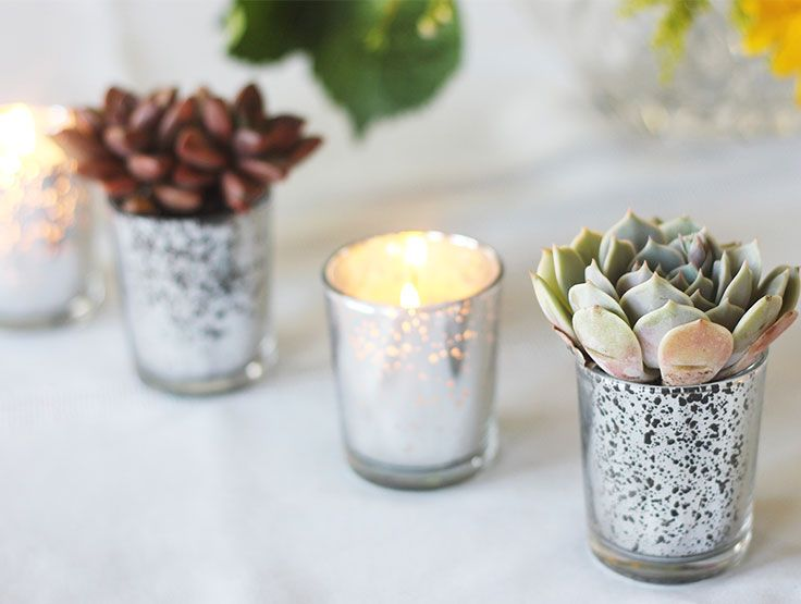 Mercury glass votive holders are the perfect addition to a bohemian or rustic wedding centerpiece! Add succulents or candles to create a romantic glow. | Just Artifacts