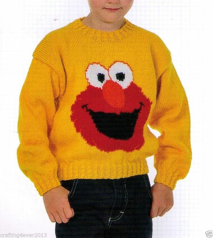 Knitting Patterns Childrens Jumpers : KNITTING PATTERN CHILDS SESAME STREETS ELMOS FACE CUTE JUMPER 56-71...