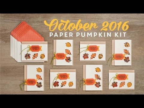 Have you seen the new October Paper Pumpkin kit from Stampin Up? It is so cute! Check out this video from Stampin Up that shows what you get! If you would like to get your monthly kit starting in Nove