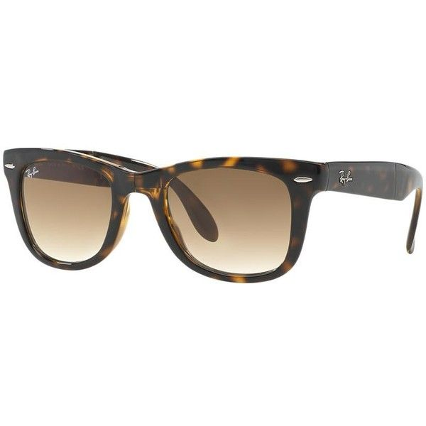Ray-Ban Folding Wayfarer Brown Sunglasses - rb4105 (4.735 UYU) ❤ liked on Polyvore featuring accessories, eyewear, sunglasses, brown, brown wayfarer sunglasses, folding glasses, wayfarer style sunglasses, folding sunglasses and ray ban sunnies
