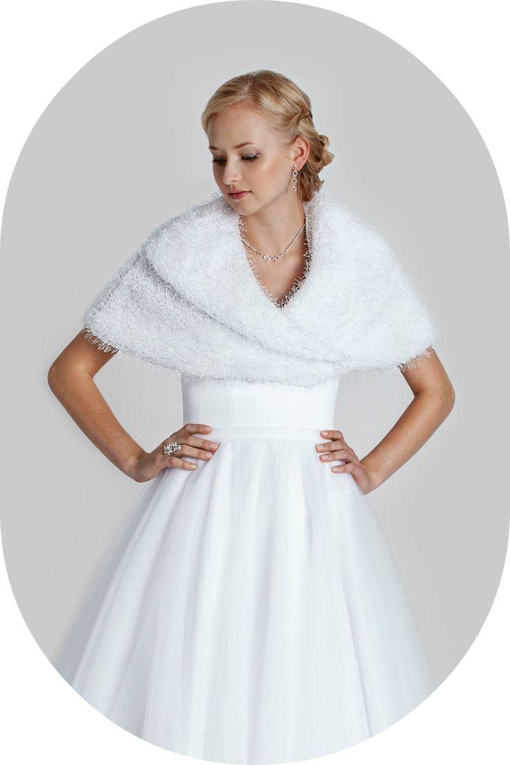 Winterstola für die Braut / Stola aus Seidenvelours zum Brautkleid / Warme Stola für den Winter / Winterstola zum Brautkleid