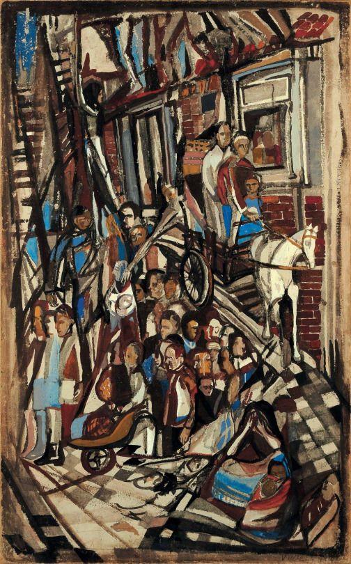 Maria Helena Vieira da Silva (Portuguese, 1908-1992), Le désastre [The Disaster], 1943. Gouache on cardboard, 79.5 x 49 cm.
