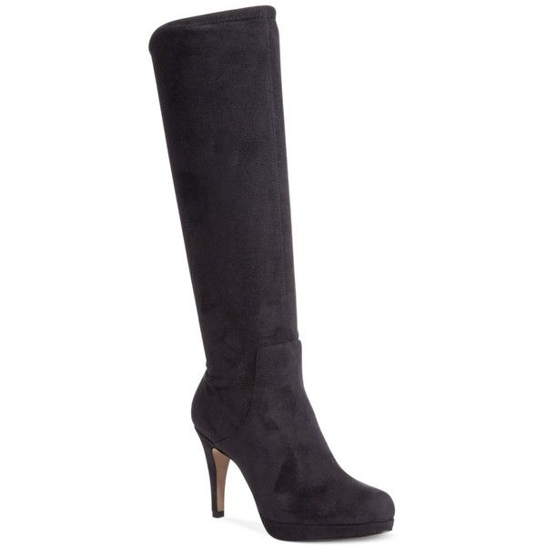 Adrienne Vittadini Premiere Tall Dress Boots ($83) ❤ liked on Polyvore featuring shoes, boots, black stretch microsuede, microfiber boots, black stretch knee high boots, black dress boots, tall black boots and stretch knee high boots