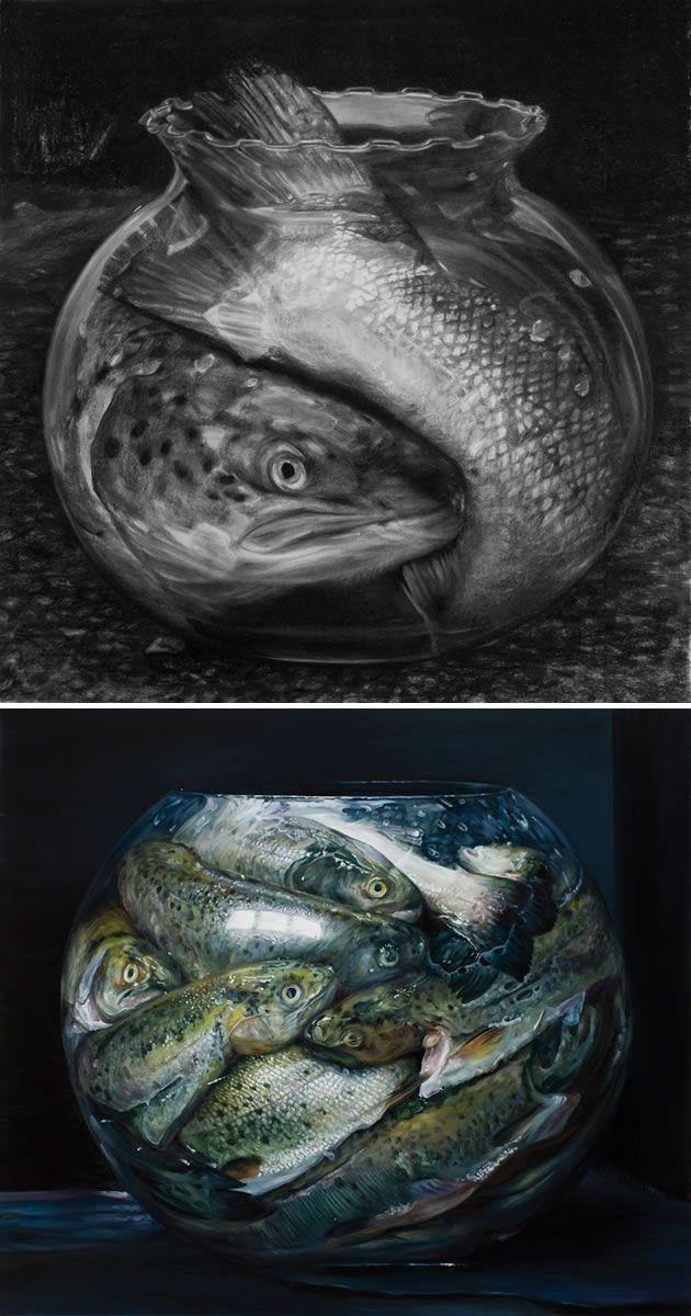 Cindy Wright still life - fish in goldfish bowl