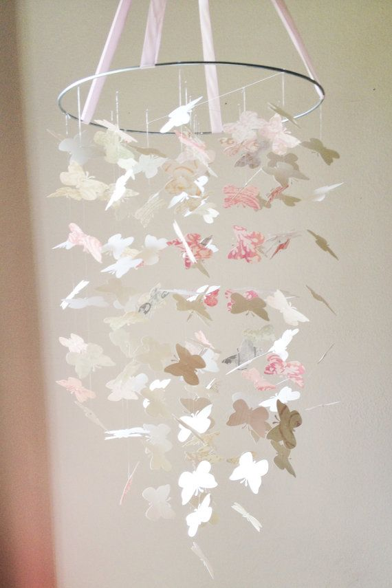 Shabby Chic Butterfly Mobile DIY Kit /// Nursery Decor, Photo Prop, Baby Shower Gift, Mobile.