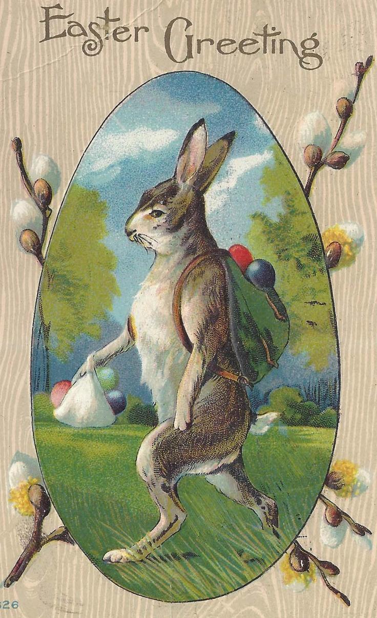 .vintage postkaart paashaas,.....................lb