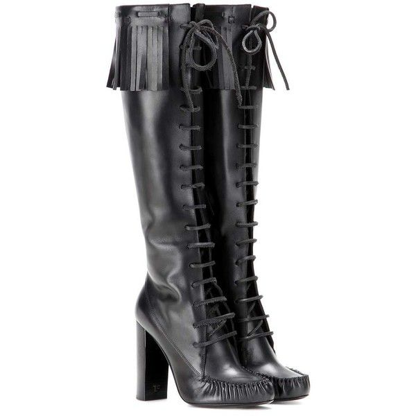 Tom Ford Santa Fe Leather Knee Boots ($1,395) ❤ liked on Polyvore featuring shoes, boots, black, scarpe, tom ford, knee boots, real leather boots, black boots and leather knee high boots