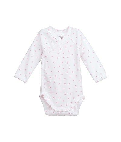 Body naissance manches longues en coton imprimé blanc Lait / rose Rose - Petit Bateau