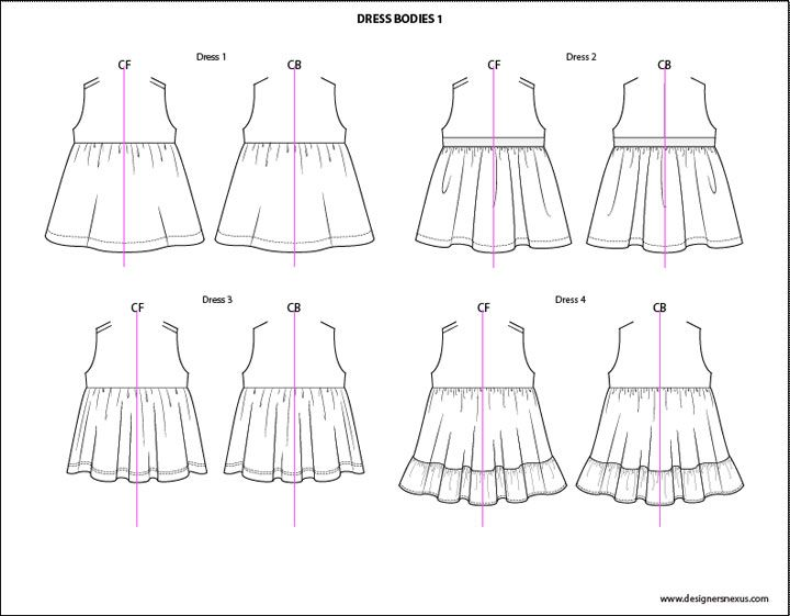 Childrens Fashion Sketches - Tops / Dresses (3 of 6)