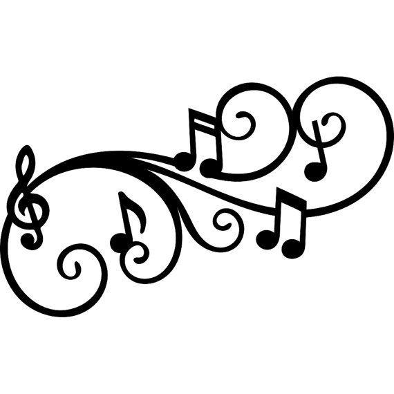 Melody Flourish Music Note SVG DXF Digital Download File